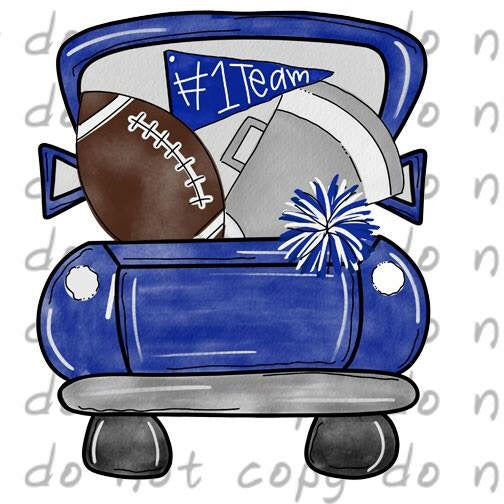 Blue Football Truck - Dye Sub Heat Transfer Sheet