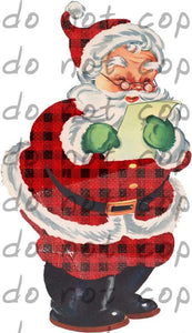 Santa with list - Dye Sub Heat Transfer Sheet