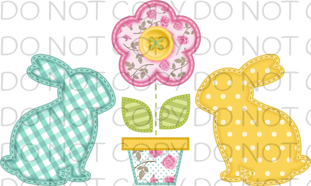 Faux embroidered bunnies and flower - Dye Sub Heat Transfer Sheet
