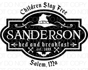 Sanderson Bed and Breakfast Hocus Pocus - Dye Sub Heat Transfer Sheet