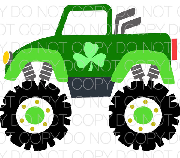 Monster Truck with Clovers - Dye Sub Heat Transfer Sheet