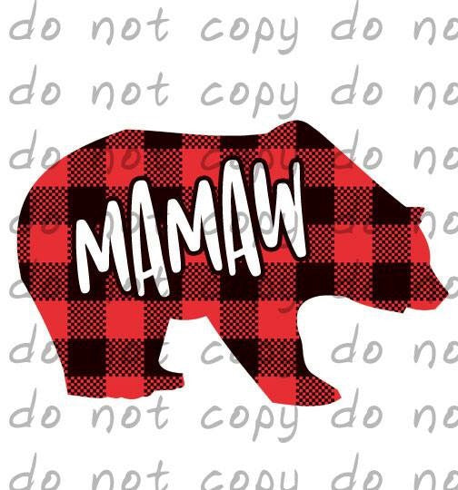 Buffalo Plaid Bear Mamaw - Dye Sub Heat Transfer Sheet