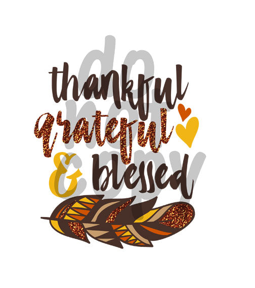 Thankful Grateful Blessed - Dye Sub Heat Transfer Sheet