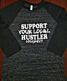 """Support Your Local Hustler"" 3/4 Sleeve Baseball TShirt Black Marble/Black"