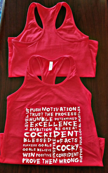 """More Than Words"" Bella+Canvas Women's Jersey Racerback Tank Red"
