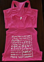 """More Than Words"" Next Level Women's Jersey Racerback Tank Raspberry"