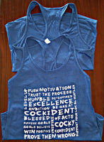 """More Than Words"" Next Level Women's Jersey Racerback Tank Royal"