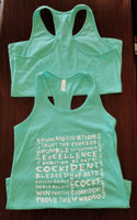 """More Than Words"" Bella+Canvas Women's Jersey Racerback Tank Teal"