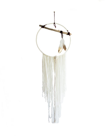 Gold Dipped Feather Driftwood Dream Catcher