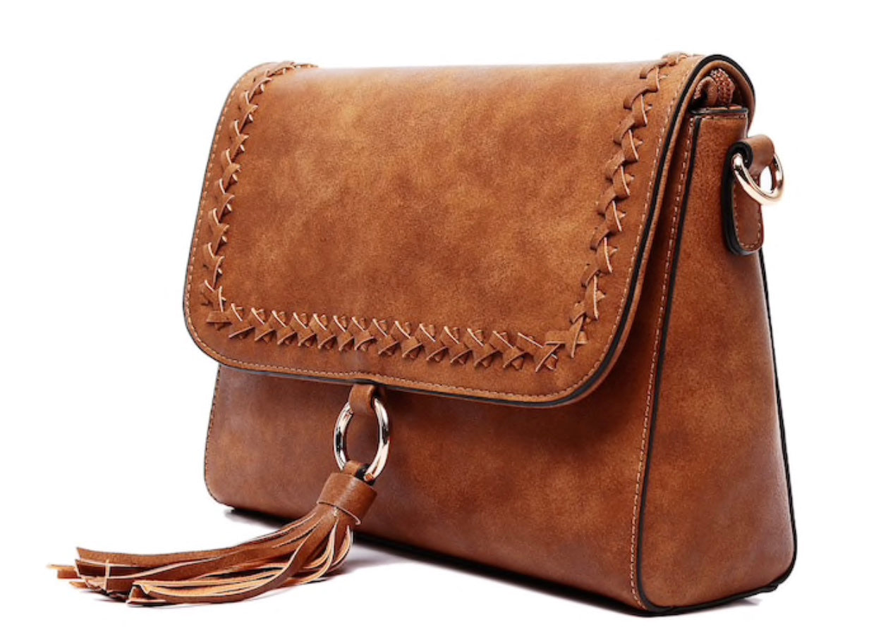 brown crossbody vegan leather