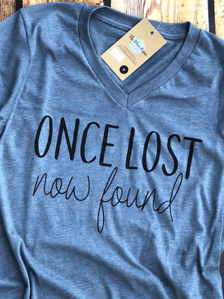 Once Lost Now Found-Amazing Grace-Vneck-Graphic Tee-Bella Canvas-How Sweet the Sound-Grace-Amazing-Inspirational-Apparel-Womens-Mens-Unisex Fit-shirt-The Blue Rose Ky