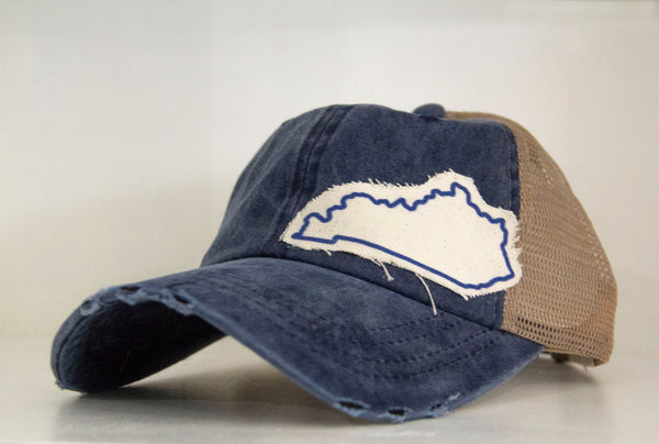 Kentucky-Outline-Bluegrass State-Wildcats-Cats-Blue-Trucker Hat-Hat-Ball Cap-Cap-Adjustable-State