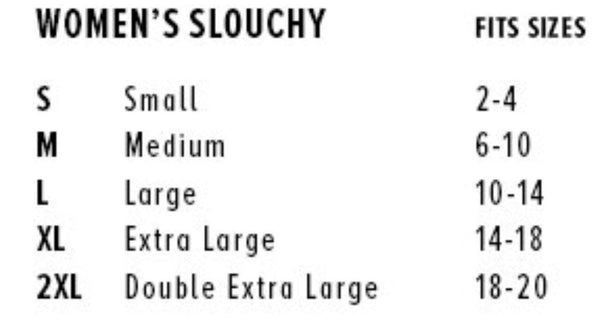 The Blue Rose Sizing Chart for Slouchy Fit Tanks