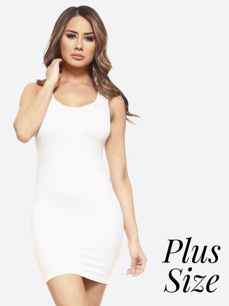 Seamless Extra Long Plus Size Tank Top-One Size-16-22-Fits most-White-Black-Tan-Rounded Neckline-Knee Length-Nylon-Spandex-Oversize-Long Camisole-Mini Dress-Body Contouring-Figure Hugging-Solid Colors-Stretchy-Super Soft