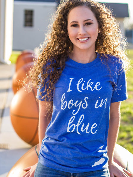 I like boys in blue-Kentucky-basketball-blue-boys-apparel-womens-unisex fit-mens-bluegrass state-graphic tee