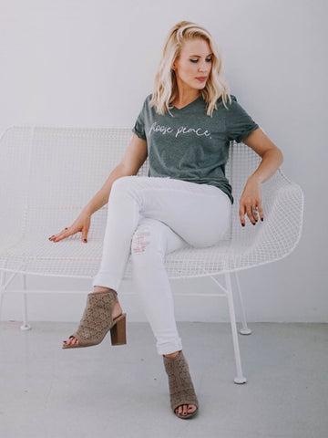 Choose Peace-Inspirational Tee-Vneck- Inspirational-Bella Canvas-Graphic Tee-V-Neck-Gray-Peace-Peaceful-Script-Quotes-V Neck-Choose-Unisex Fit