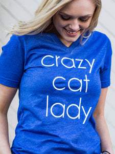 Crazy Cat Lady-Kentucky-Wildcats-Bluegrass State-Blue-Vneck-Tshirt-Graphic Tee-Screen Printed-Bella Canvas-V-Neck-Super Soft-Comfortable-Kentucky Blue-Crazy-Cat Lady-Super Fan-Basketball-Football-Wildcat-BBN-Big Blue Nation-Sports-Team-State-Cats