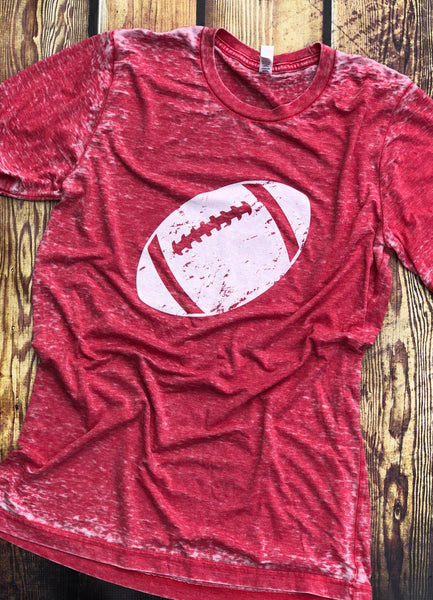 Football-Red-Tshirt-Louisville-Graphic Tee-Football Season-Game Day-City Vibes-Red-Apparel-Womens-Mens-Unisex Fit-Team Sport-Tailgating-Football Season-Red-Acid Wash-University of Louisville-Alabama-Roll Tide-Cardinals-Favorite Team-Go Team-Touchdown-Friday Nights
