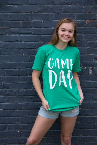 Game Day-Green-Graphic T-shirt-Bella Canvas-Meade County-Basketball-Football-Baseball-Sports-Team Shirt-Game Day Shirt-Game Day Tee-Soccer-Team Mom-Team Spirit-Green and White-Sports-Apparel-Clothing-Womens-Mens-Team