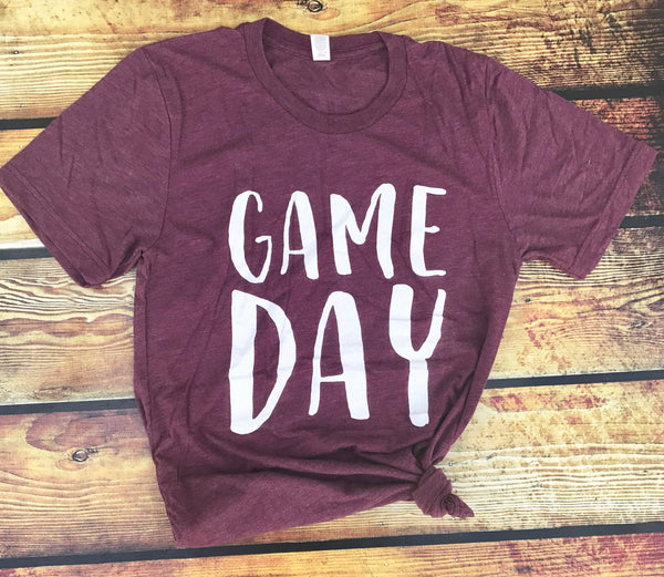 Game Day-Maroon-Tshirt-Bella Canvas-Graphic Tee-Apparel-Soccer-Baseball-Football-Basketball-Sports-Eastern Kentucky University-EKU-Team Shirt-Game-Sports-Sports Apparel-Unisex-Adult Clothing-Women's-Men-High School-Team Apparel