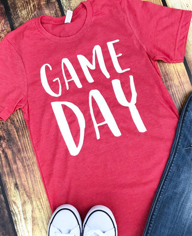 Game Day-Red-Team Sports-Team Spirit-Team Mom-Baseball-Football-Basketball-Soccer-Volleyball-Red and White-Graphic Tee-Apparel-Sports Apparel-Sports-Short Sleeve-Bella Canvas-Super Soft-shirt-Screen Print-Louisville-Cards-Georgia-Unisex Fit-Men-Women