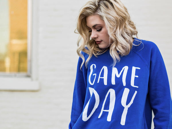 Game Day-Blue-Wildcats-Kentucky-University of Kentucky-BBN-Big Blue Nation-Royal Blue-Game-Day-Ready-Sweatshirt-Bluegrass State-Blue-Apparel-Clothing-Mens-Womens-Teen-Long Sleeve-Comfy-Comfortable-Game Day Gear-Sports-Sports Apparel-Tailgating-UK