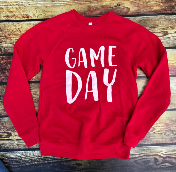 Game Day-Sweatshirt-Red-Football-Basketball-Sports