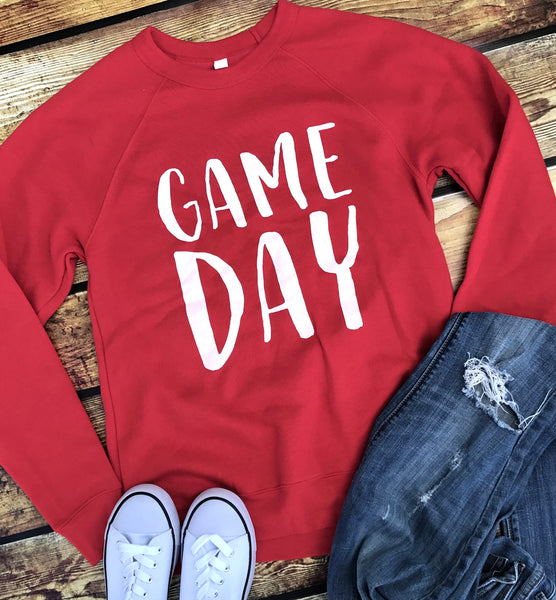 Game Day-Sweatshirt-Red-Football-Basketball-Sports-Louisville-Cardinals-Cards-Game-Day-Sweatshirt-Team Color-Red and White