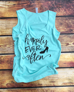 Happily Ever After-Graphic Tank-Apparel-Womens Clothing-Womens-Tank-LAT Brand-The Blue Rose Ky-Disney-Vacation-Vacay-Engagement-PhotoShoot-Princess-Princess Tank-Disney World Shirt for Women-Cinderella Slipper-Cinderella Tank-Fairytale