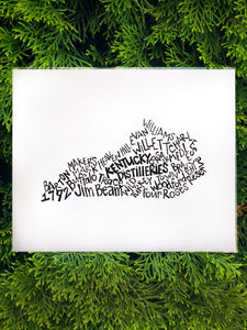 Hand Lettered-KENTUCKY DISTILLERIES-8x10 Print