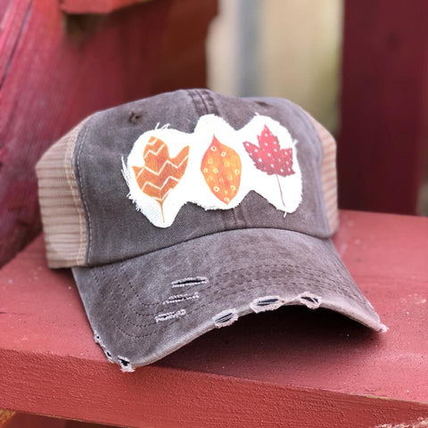 Fall in Love-Trucker Hat-Fall-Colors-Hand Drawn-Leaf-Design-Adjustable-Trucker-Hat-Baseball Cap-Perfect for Fall-Marroon-Orange-Yellow-Fall Collection-Hats-Taupe-Distressed Hat-Mesh-Fabric-Accessories