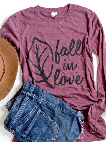 Fall in Love-Fall-Maroon-Graphic Tee-Long Sleeve-Tshirt-Fall Shirt-Women's-Apparel-Clothing-Fall-Bella Canvas-Autumn-Burgundy