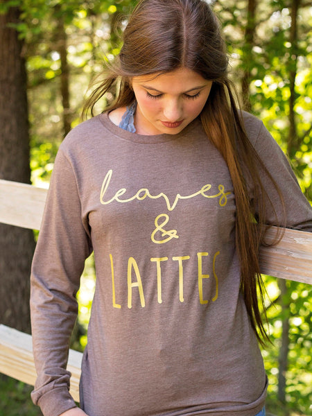 Leaves and Lattes-Leaves-Fall-Autumn-Brown-Gold-Apparel-Long Sleeve-Graphic-Tee-Clothing-Women-Men-Unisex Fit-Fall-Fall Love-Coffee-All the Coffee-Love Fall-Bell Canvas-Super-Soft