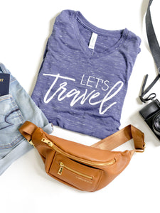Let's Travel-Vneck-Tshirt-Graphic Tee-Adventure-Blue-TriBlend-Bella Canvas-Adventure-Adventure Awaits-Travel-Wanderlust-Tee-Women-Unisex fit-Apparel-Explore-Nature-Countries-Moutains-Islands-Grand Adventure-Traveling-Road Trip