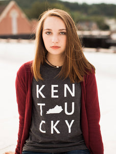 Kentucky Square-Tshirt-Gray-The Original Kentucky Square-The Blue Rose-Bella Canvas-Apparel-Womens-Mens-Clothing-State-Kentucky-State Silhouette-Uk-Graphic Tee-Bluegrass State-Kentucky Wildcats-Gray-KY Shirt-Unisex-Louisville-Lexington-Bowling Green-Small Town-Big City-City Vibes