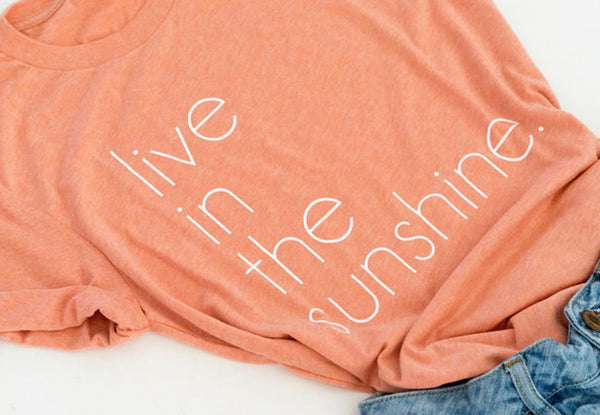 Live in the Sunshine-live in the sunshine graphic tee-graphic tee-Bella Canvas-Orange-Coral-short sleeve-apparel-womens-unisex fit-comfortable-graphic-inspirational-summer-fun-beach-vacay-vacation-favorite