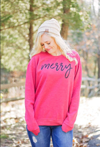 Merry-Merry Christmas-Holiday Sweatshirt-Red-Sweatshirt-Holiday Collection-Winter-Apparel-Womens-Mens-Clothing-Unisex fit-Red and Black-Holiday Apparel-Ugly Sweater Party-Christmas Party-Holiday Party-Clothing-Unisex-Oversized Sweatshirt-Shirt for women-Gift-Holiday Gift-Party Apparel-Long sleeve-Sweatshirts to wear with leggings
