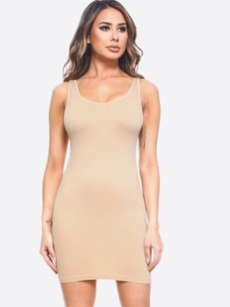 Seamless Extra Long Tank Top-One Size-0-14-Fits most-White-Black-Tan-Rounded Neckline-Knee Length-Nylon-Spandex-Oversize-Long Camisole-Mini Dress-Body Contouring-Figure Hugging-Solid Colors-Stretchy-Super Soft
