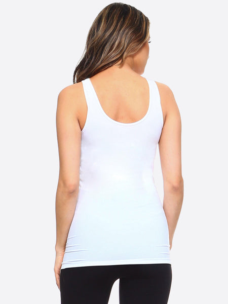 Seamless Long Tank Top-One Size-0-14-Fits most-White-Black-Gray-Brick-Red-Navy-Rounded Neckline-hip Length-Nylon-Spandex-Oversize-Layering-Tank-Camisole-Mini Dress-Body Contouring-Figure Hugging-Solid Colors-Stretchy-Super Soft