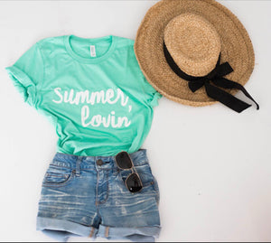 Summer Lovin-Womens-Apparel-Graphic Tee-Summer-Tshirt-Mint Green-Beach-Beach wear-Summer-Poolside-Vacation Shirt-Comfortable-lake shirt-poly blend-bella canvas