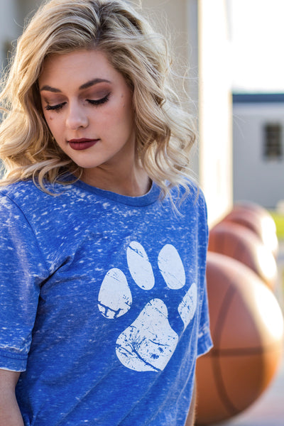 Wildcat-Kentucky-Bluegrass State-Apparel-Blue-Game Day-Graphic Tee-Paw Print-Paw-Basketball-Football