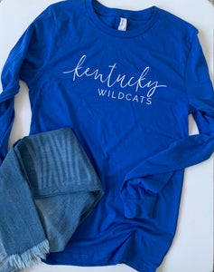 Wildcats-Kentucky - Long Sleeve Tee - Blue and White