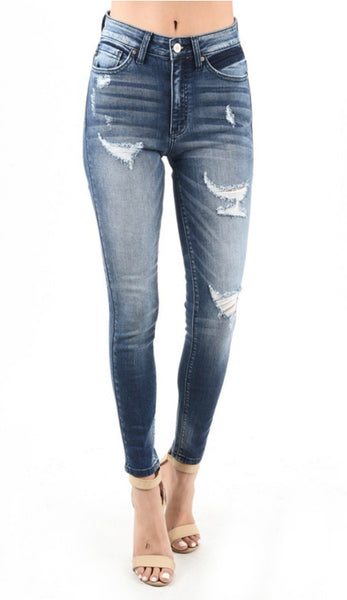 Kan Can Skinny Jeans - Medium Wash -Distressed - pocket Detail