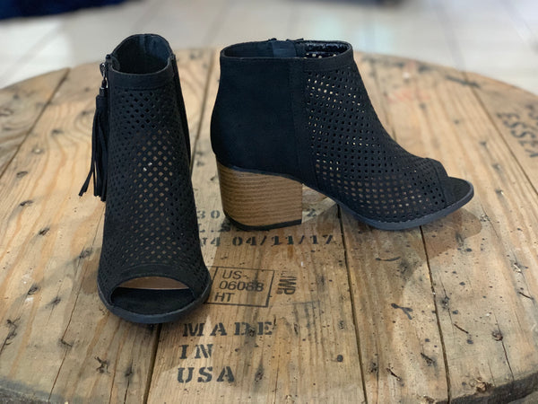Peep Toe Perforated Tassel Booties - Black