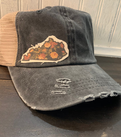 Floral-Kentucky State-Outline-Trucker Hat - Vintage Black
