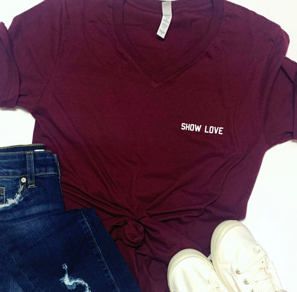 Show Love - V Neck T-shirt - Maroon