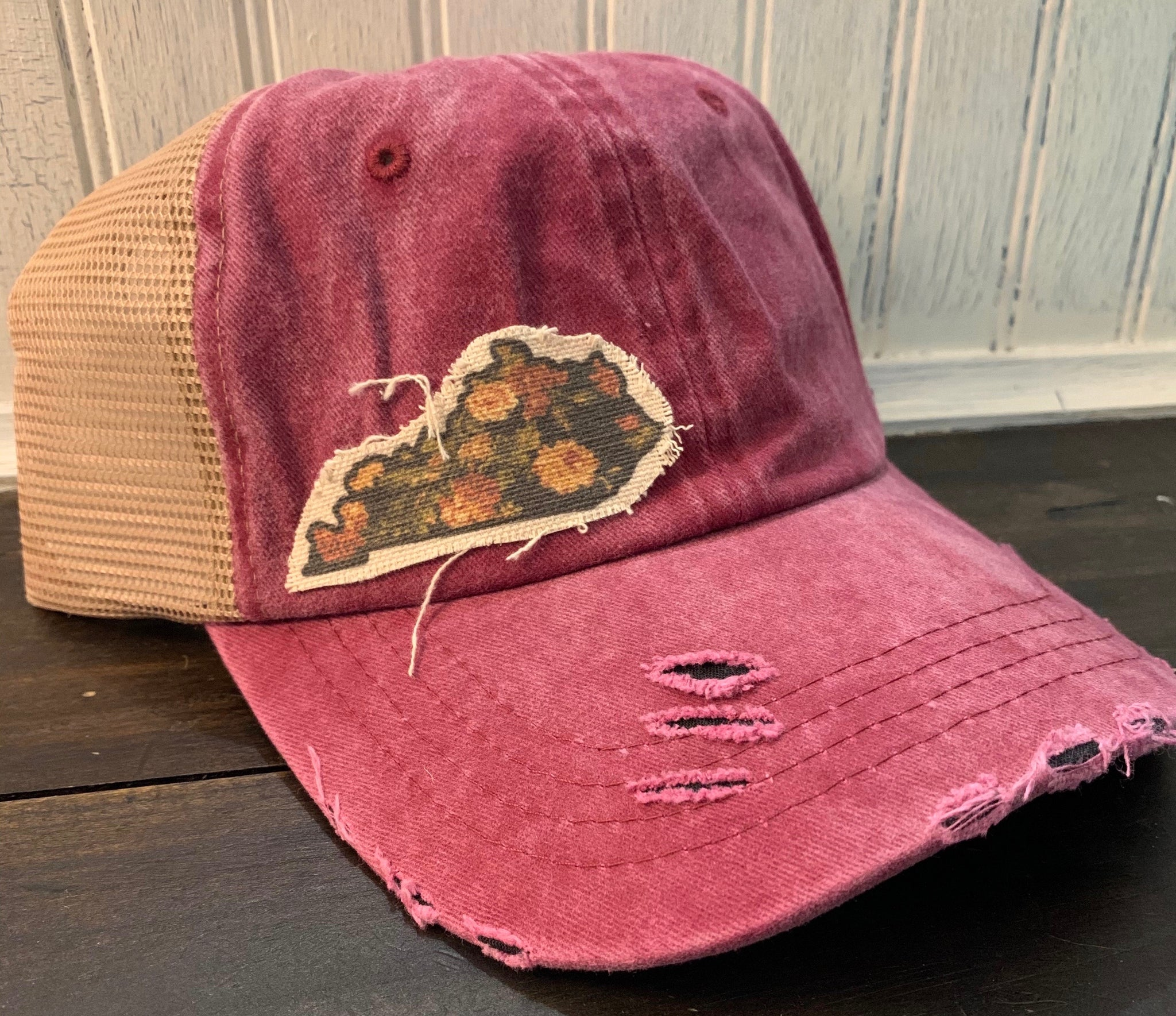Floral-Kentucky State-Outline-Trucker Hat - Vintage Red