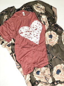 Heart Tee- Valentine's Day Shirt- V Day- Mauve Marble