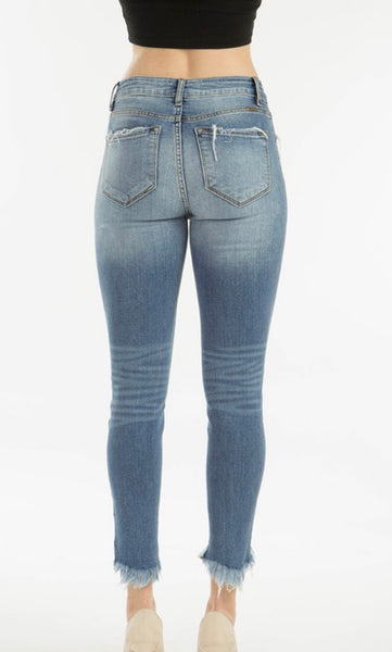 Kan Can Ankle Jeans - Light Wash - Distressed Hem with Slight Distressing