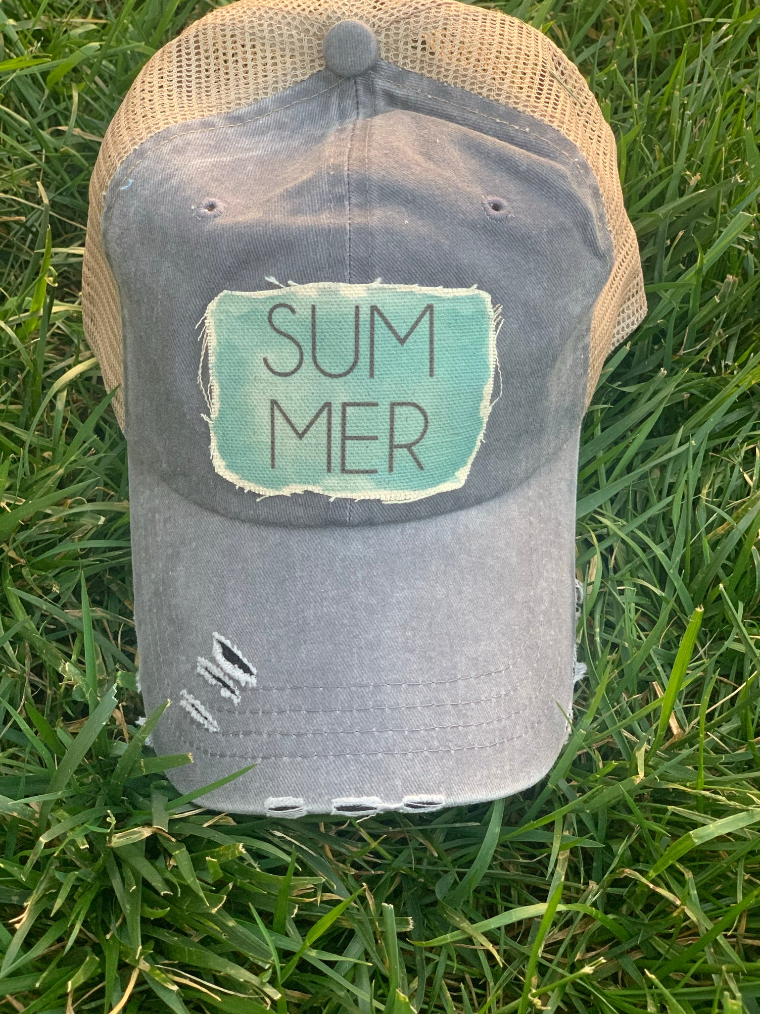 SUMMER - Trucker Hat - Summer Raggy Hat-Vibtage Gray and Teal